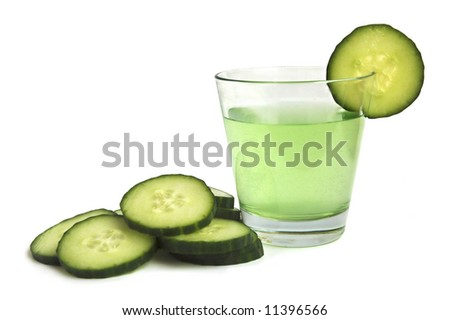 Cucumber drink with fresh cucumber - stock photo