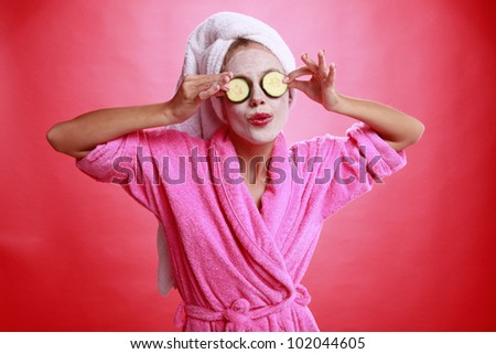 Cucumber eye treatment and face mask - stock photo