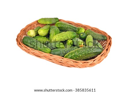 Cucumber gherkin in a wattled basket, isolated on white background