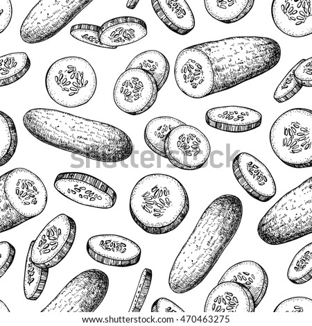 Cucumber hand drawn vector pattern. Vegetable engraved style illustration. Isolated cucumber and sliced pieces. Detailed vegetarian food drawing background. Farm market product.
