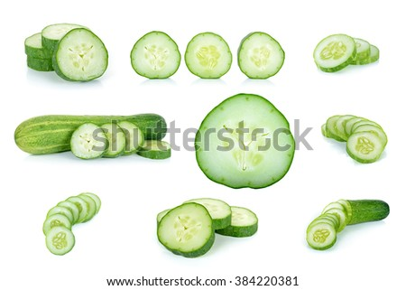 Cucumber isolated on the white background . - stock photo