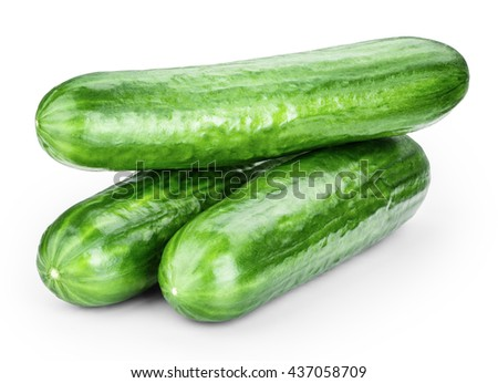 cucumber isolated on white background clipping path - stock photo