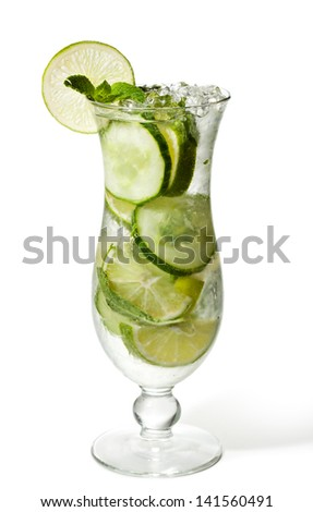 Cucumber Lemonade with Mint and Lime - stock photo
