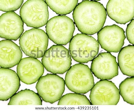 Cucumber. Slice of cucumber. Fresh cucumber. Cucumber background - stock photo