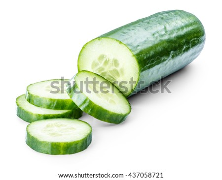 cucumber sliced isolated on white background clipping path - stock photo