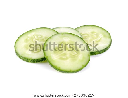 Cucumber sliced isolated over white background