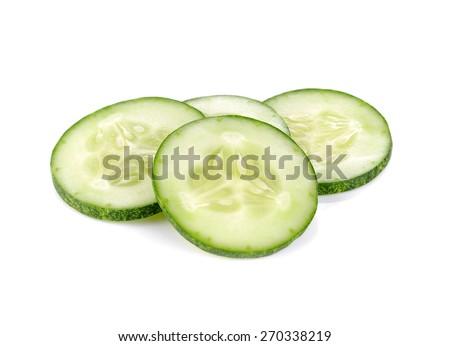 Cucumber sliced isolated over white background - stock photo