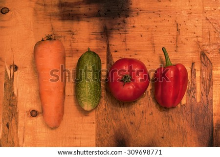 cucumber, tomato, pepper, carrot, top view - stock photo