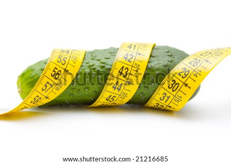 Cucumber with yellow tape measure