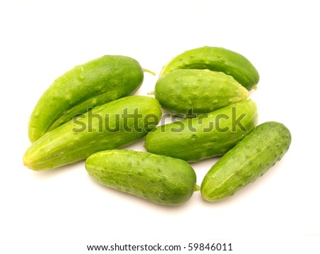 Cucumbers on a white background