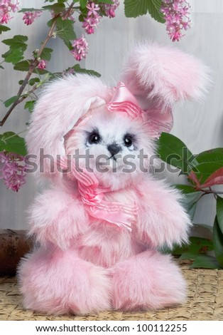 Cuddly, lovable little Pink rabbit toy