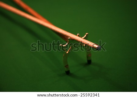 cue and rest - stock photo