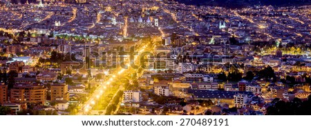 CUENCA, ECUADOR NIGHT TIME PANORAMA  - stock photo