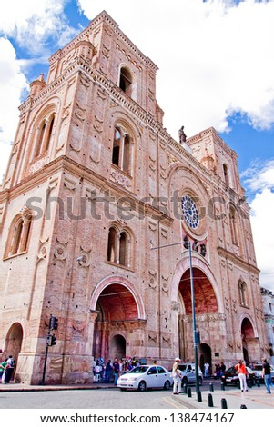 CUENCA, ECUADOR - NOVEMBER 4: Parque Calderon and Catedral Nueva open for  visit in the cities festivities, the most recognizable landmark of the city, on November 4, 2011 in Cuenca, Equador