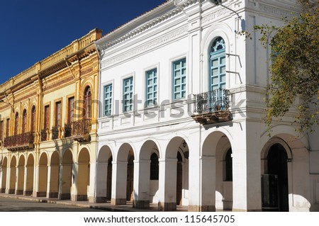 Cuenca  is a beautifllly colonial city, packed with historical monuments and architectural treasures. Cityscape - old town - colonial architecture detail - stock photo