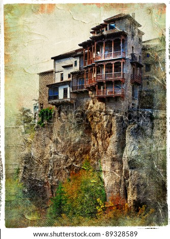Cuenca - medieval town of Spain.Famous hanging houses - picture in painting style - stock photo