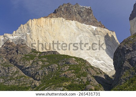 Cuerno Principal in Torres del Paine National Park in the Chilean Andes of Patagonia - stock photo