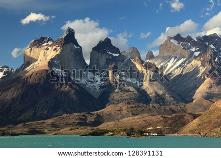 Cuernos del paine from lake pehoe - stock photo