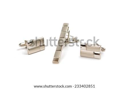 cufflinks isolated on white background  - stock photo