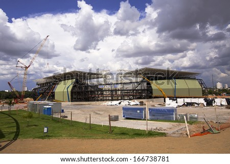 CUIABA, MT, BRAZIL - DECEMBER 07: Arena Pantanal building stage for 2014 Brazil's world cup, south side. December 07, 2013 in Cuiaba, MT, Brazil. - stock photo