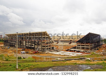 CUIABA, MT, BRAZIL - MARCH 26: Arena Pantanal building stage for 2014 Brazil's world cup, March 26, 2013 in Cuiaba, MT, Brazil.
