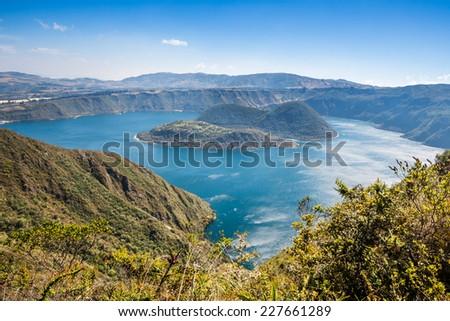 Cuicocha crater lake, Ecological Reserve Cotacachi-Cayapas, Ecuador - stock photo