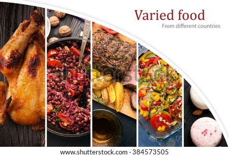 Cuisine of different countries. Western and eastern dishes - stock photo