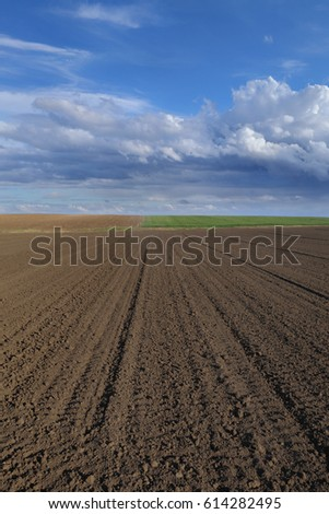 Cultivated field in early spring, ground and sky with clouds
