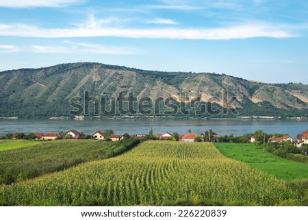 cultivated land along Danube river in Serbia, near Kladovo at the border with Romania - stock photo
