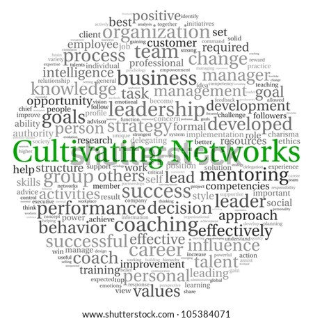 Cultivating Networks concept in word tag cloud on white background