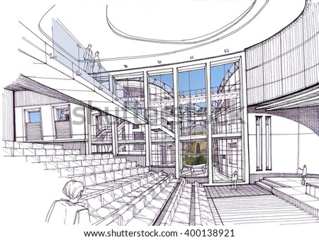 Cultural Center - Conference Hall - stock photo
