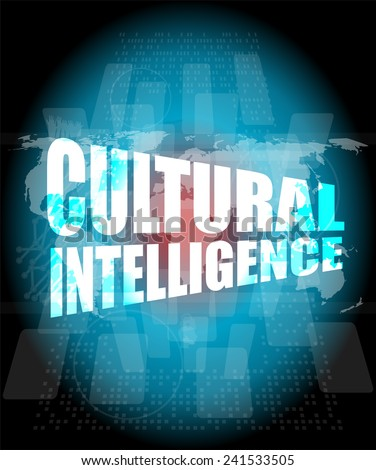 cultural intelligence words on digital screen with world map - stock photo