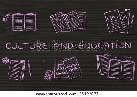 Culture and education: set of books and notes about various school subjects