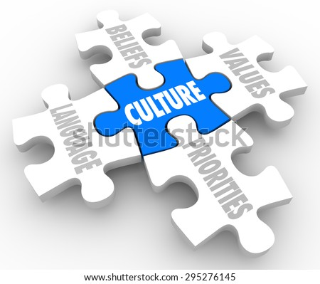 Culture word on puzzle piece with connected elements marked Beliefs, Language, Priorities and Values - stock photo