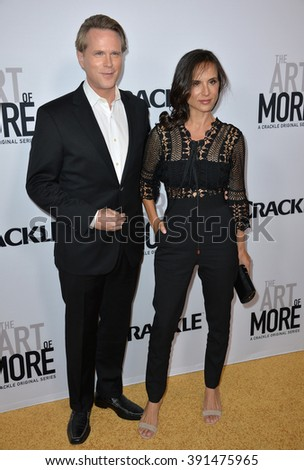 """CULVER CITY, CA - OCTOBER 29, 2015: Cary Elwes & wife Lisa Marie Kurbikoff at the  premiere for """"The Art of More"""" at Sony Pictures Studios - stock photo"""