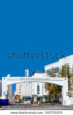 CULVER CITY, CA/USA - NOVEMBER 29, 2014: Sony Pictures studios entrance. Sony Pictures Studios are a television and film studio complex. - stock photo