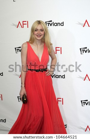 CULVER CITY - JUN 7: Dakota Fanning at the 40th AFI Life Achievement Award honoring Shirley MacLaine held at Sony Pictures Studios on June 7, 2012 in Culver City, California - stock photo