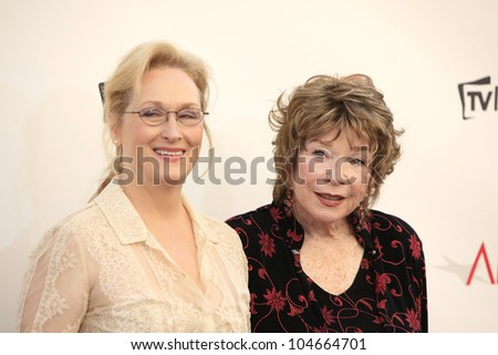 CULVER CITY - JUN 7: Meryl Streep, Shirley MacLaine at the 40th AFI Life Achievement Award honoring Shirley MacLaine held at Sony Pictures Studios on June 7, 2012 in Culver City, California - stock photo