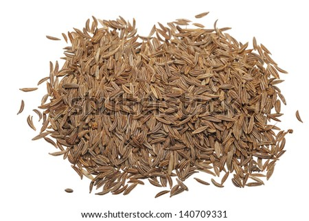 Cumin seeds on a white background, isolated