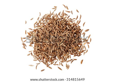 Cumin seeds or caraway isolated on white background, top view - stock photo
