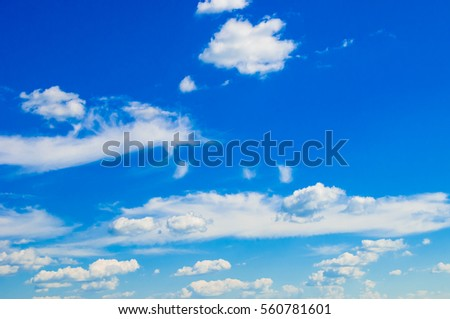 Cumulus clouds with blue sky/Blue sky with fluffy clouds