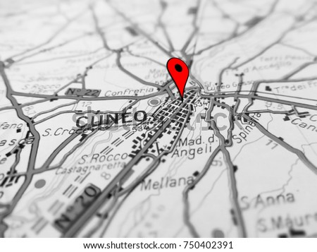 Cuneo City Over Road Map Italy Stock Photo 750402391 Shutterstock