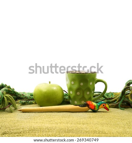 Cup and Apple                    - stock photo