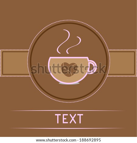 Cup and coffee beans heart. Card. Pink text. Rasterized copy - stock photo