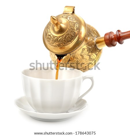 cup and  pot for coffee isolated on white background - stock photo