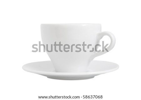 cup and saucer are on white - stock photo
