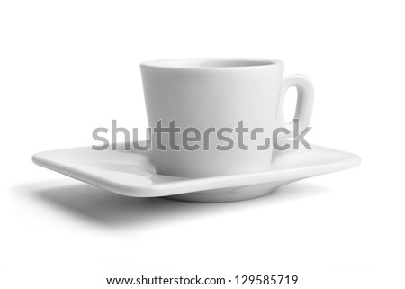 cup and saucer isolated on white background with clipping path