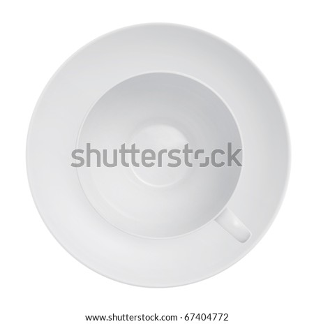 Cup and saucer on a white background - stock photo