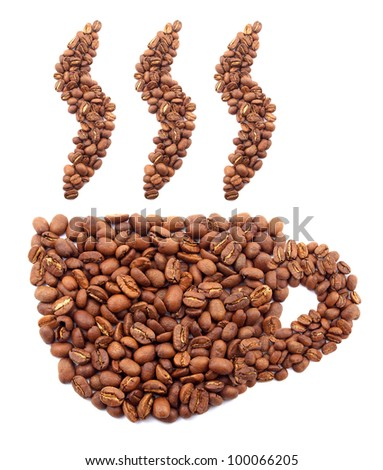 Cup and smoke from coffee grains. Abstract composition - stock photo