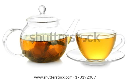 Cup and teapot of green tea isolated on white - stock photo